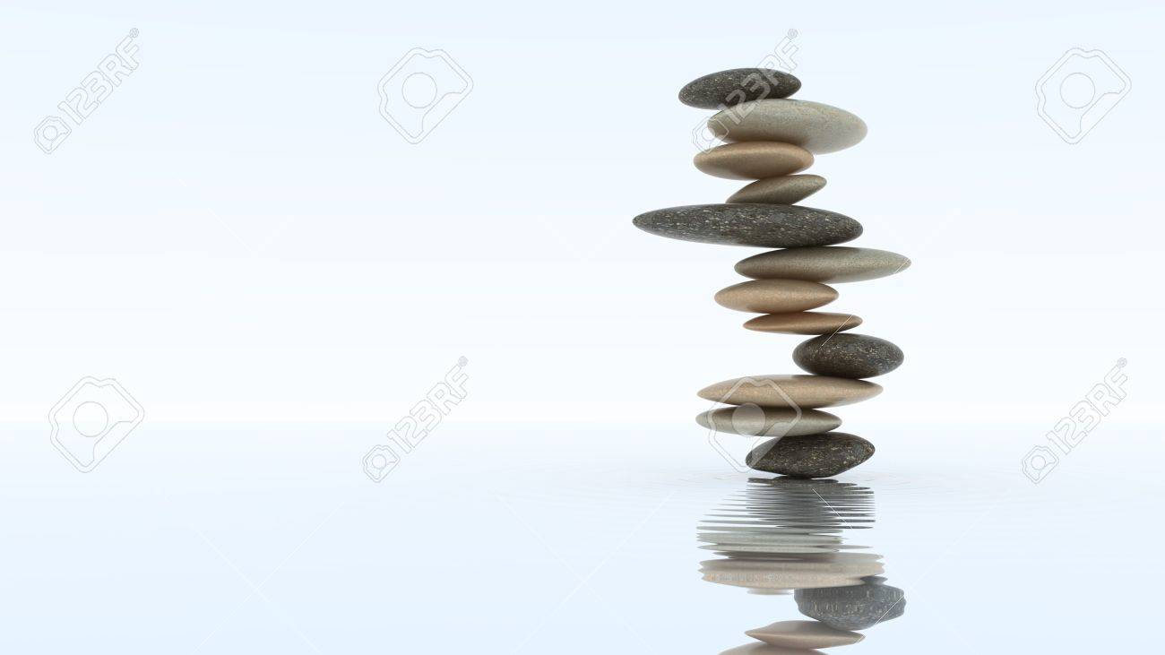 Stability concept. Pebble stack on the water surface Stock Photo - 8183371