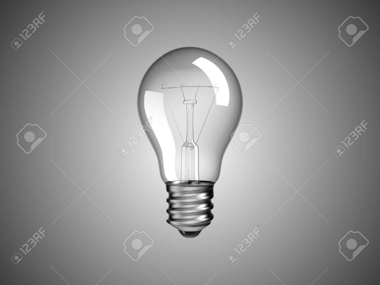 Solution or idea -  lightbulb over grey background Stock Photo - 8295484