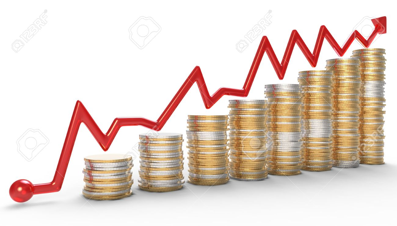 Success: red graph over golden coins stacks over white Stock Photo - 8605114