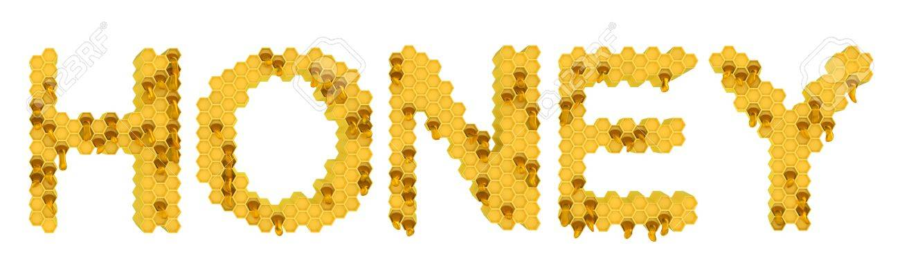 Honey and sweet food: yellow honeycomb letters over white Stock Photo - 8862960