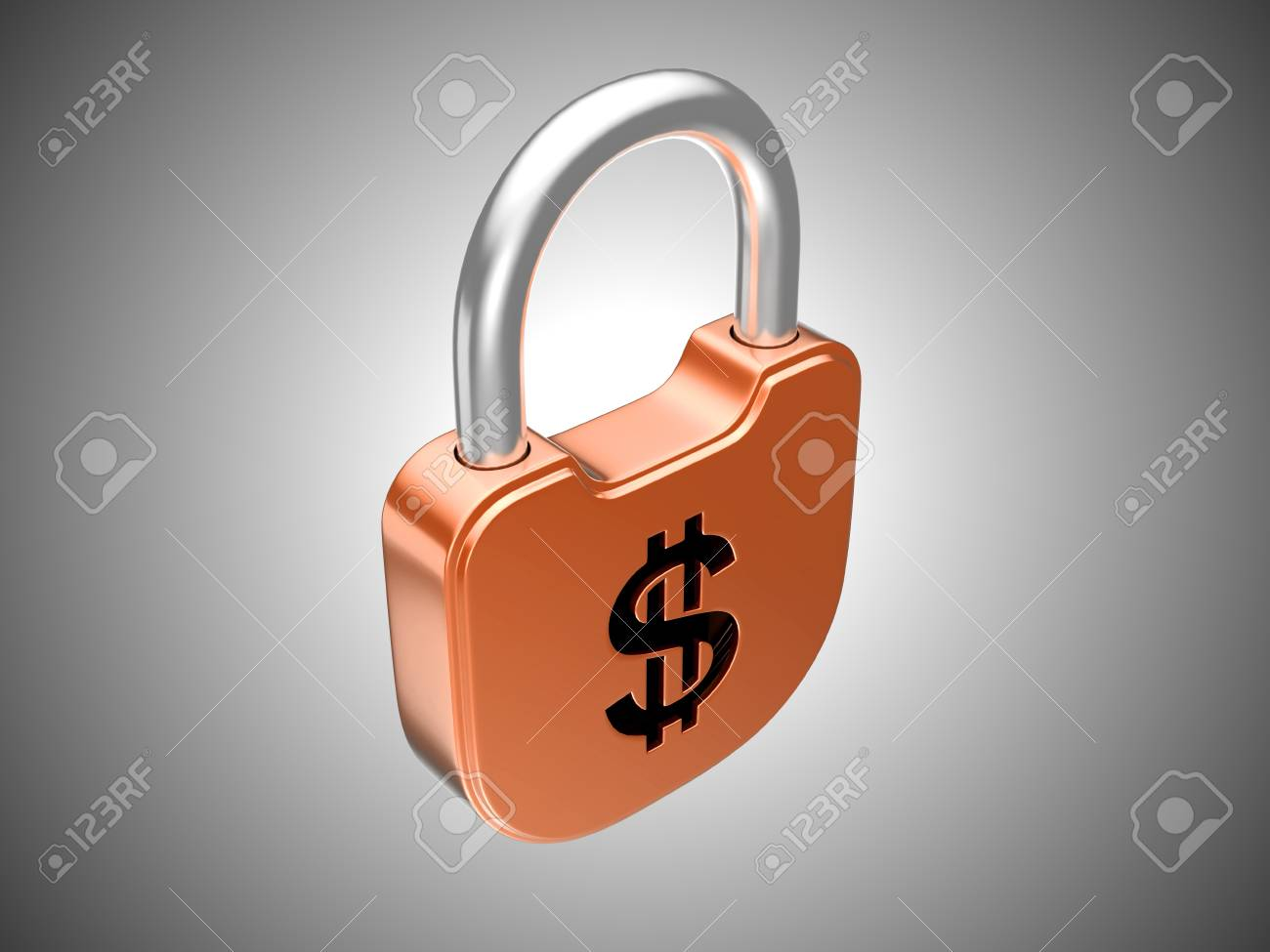 Locked lock: US dollar security currency concept. Over grey background Stock Photo - 8862954