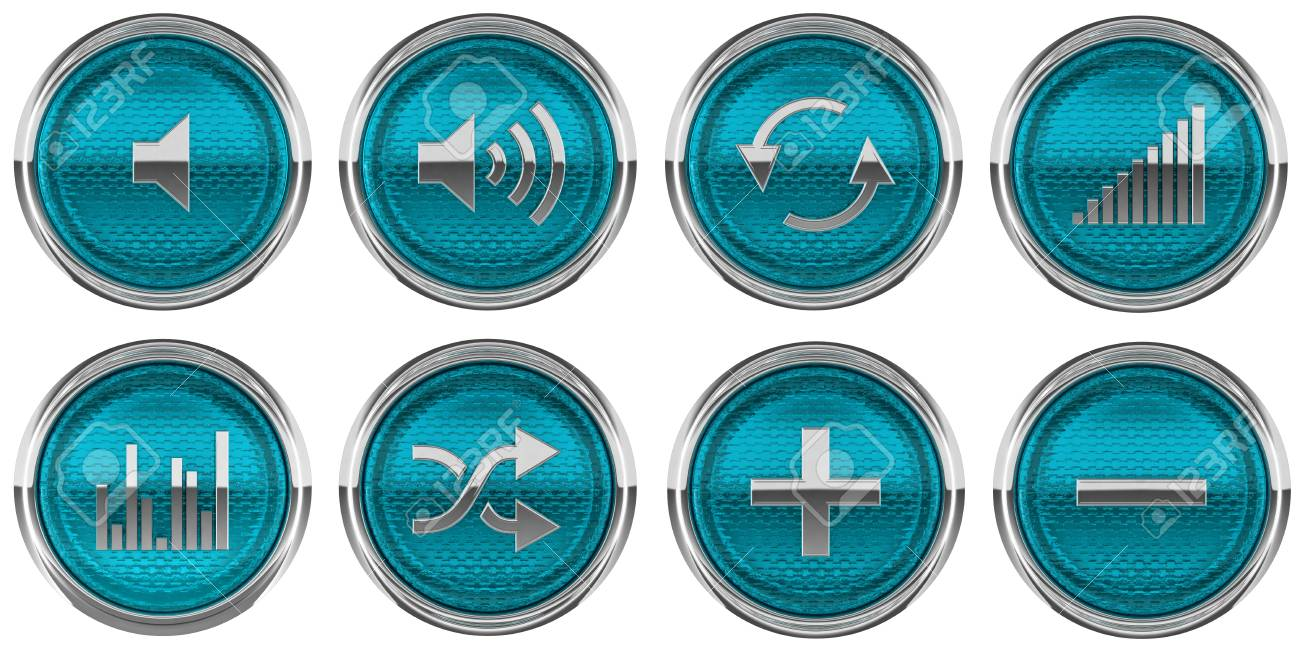Blue Control panel buttons isolated on white Stock Photo - 8863034