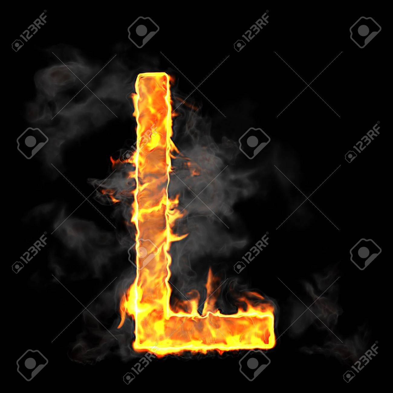 Burning and flame font L letter over black background Stock Photo - 9065615