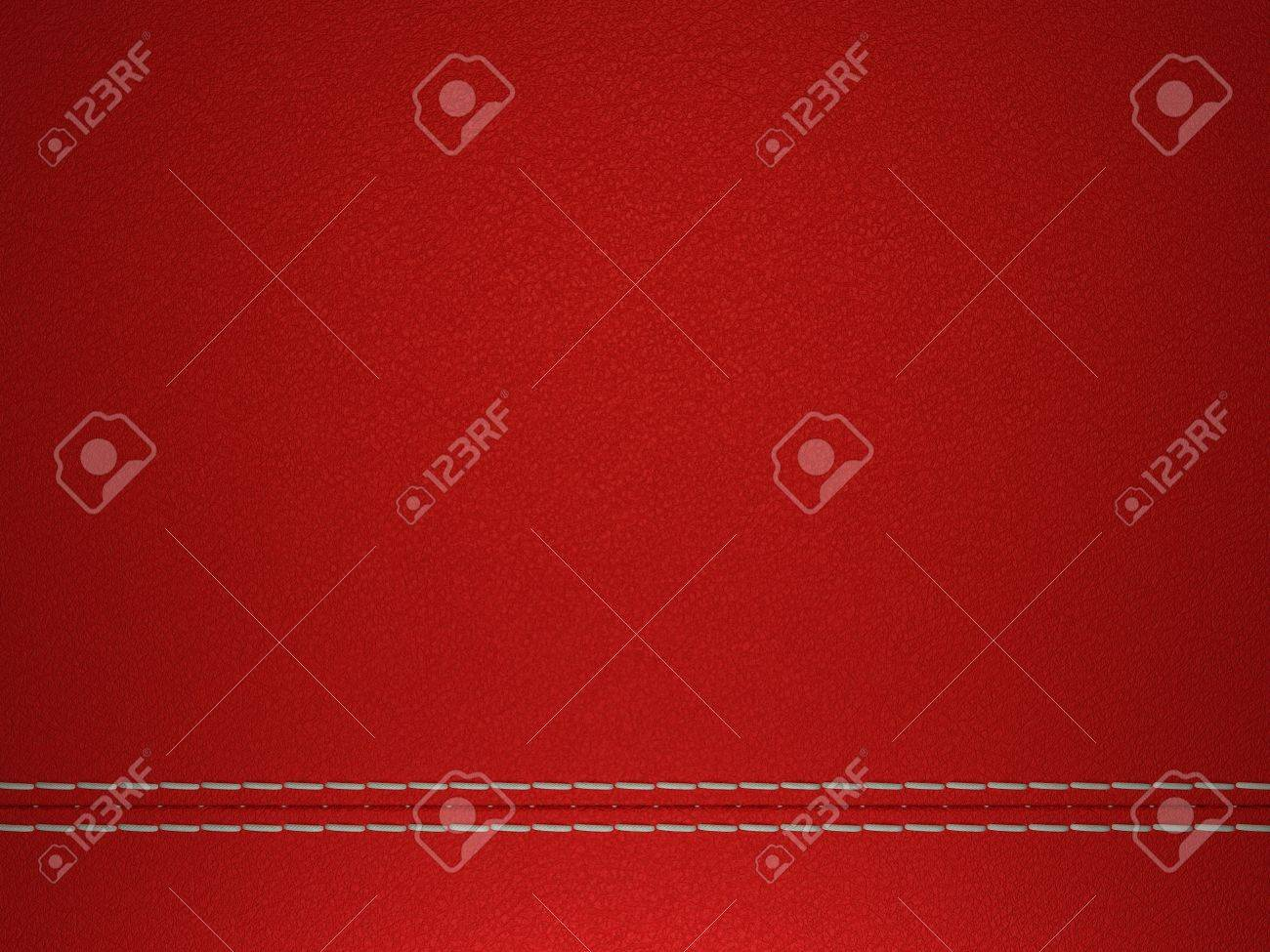Red horizontal stitched leather background. Large resolution Stock Photo - 9229967