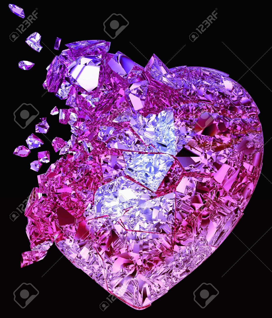 Broken crystal Heart: unrequited love, death, disease or pain. Isolated on black Stock Photo - 9345370