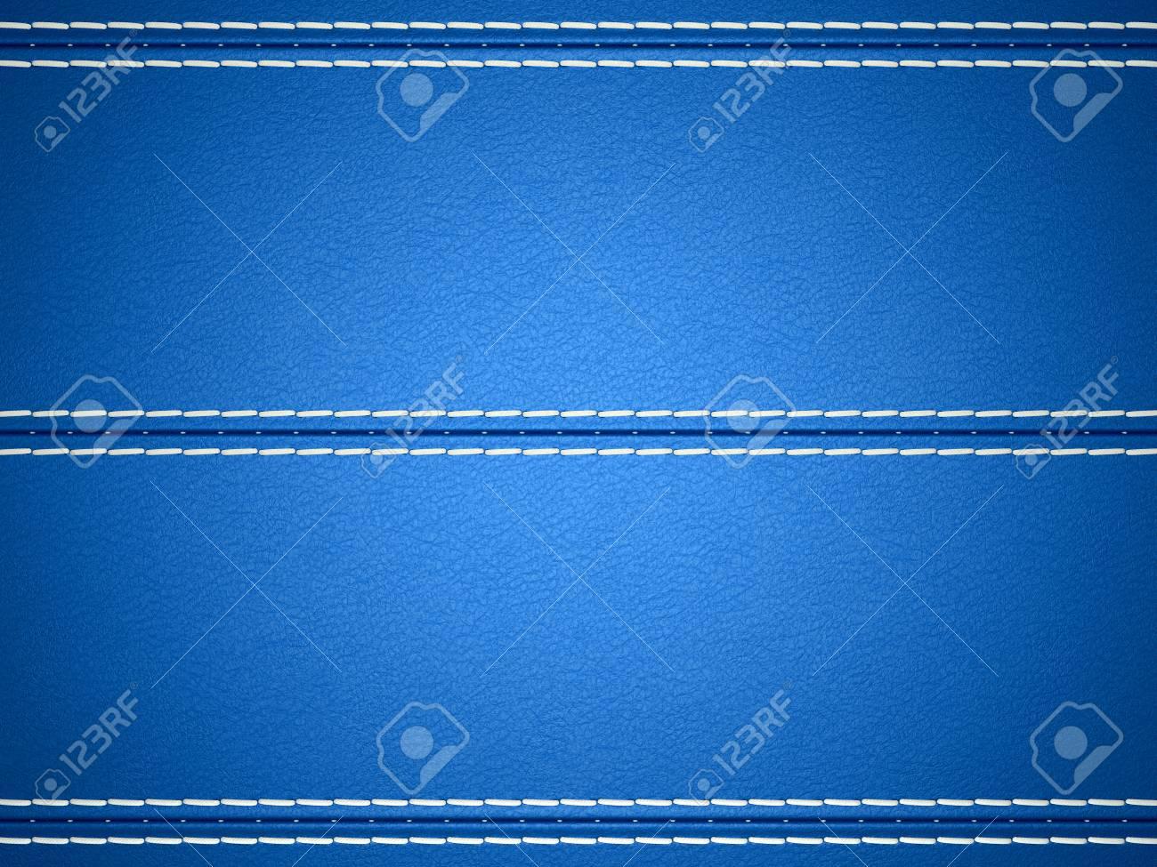 Blue horizontal stitched leather background. Large resolution Stock Photo - 9404840
