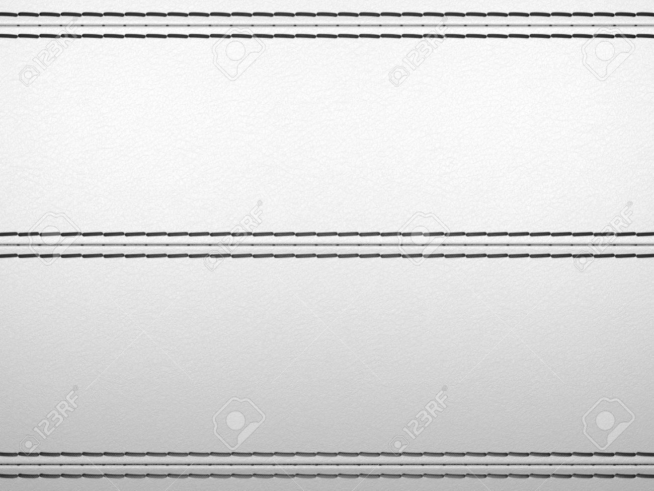 Light grey horizontal stitched leather background. Large resolution Stock Photo - 9404838