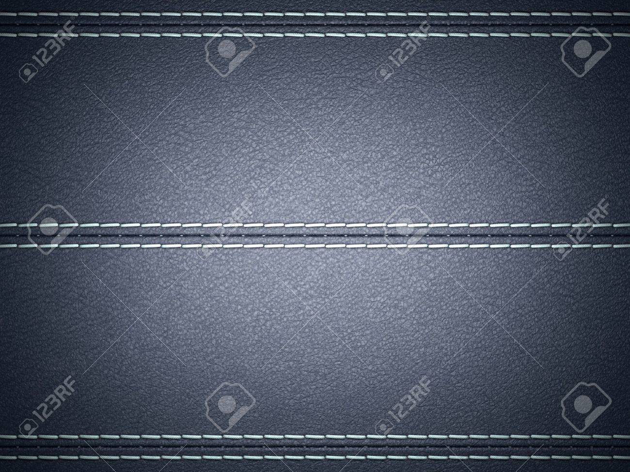Dark Blue horizontal stitched leather background. Large resolution Stock Photo - 9426111