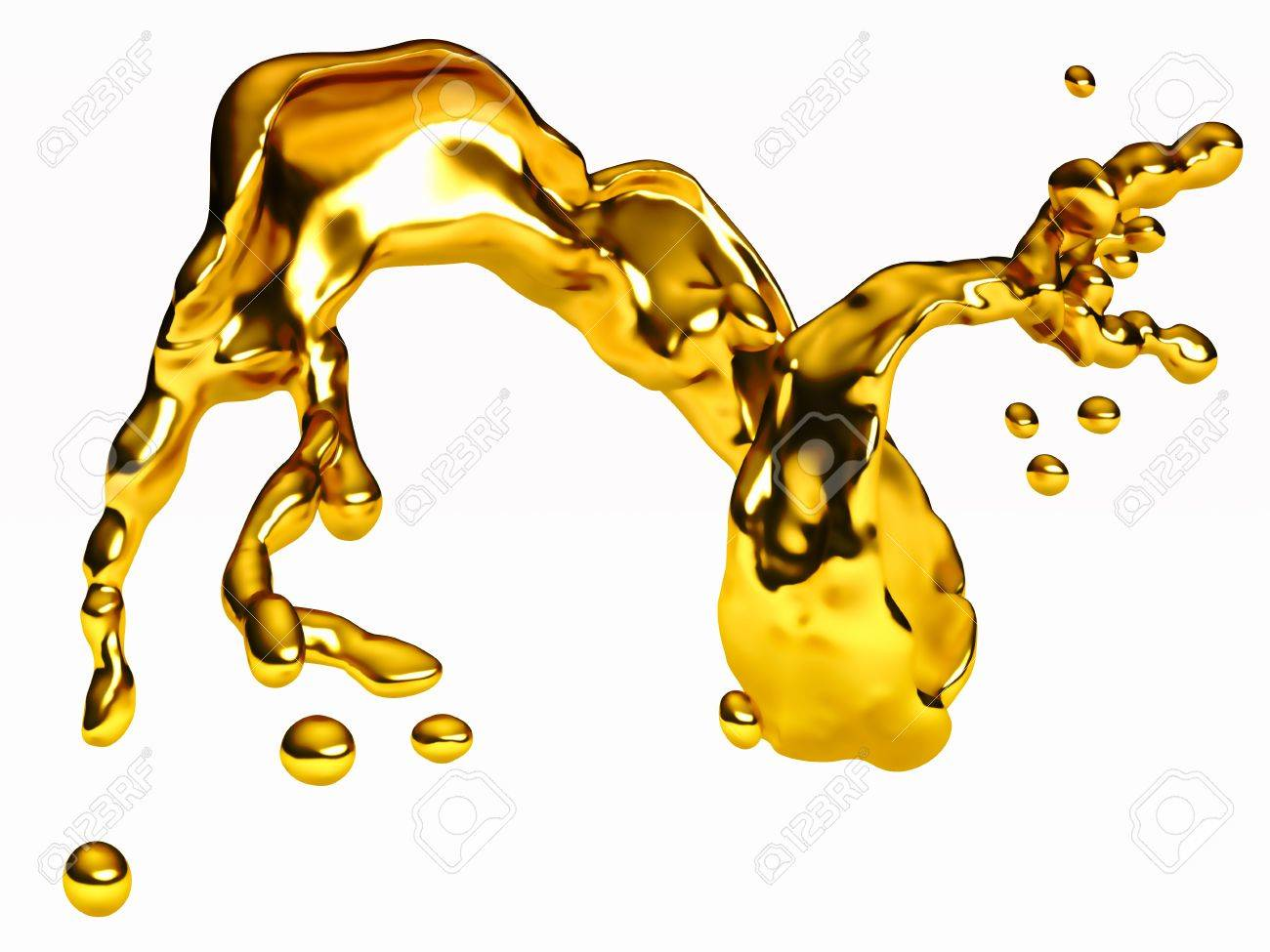 Splash of golden fluid with droplets over white. Large resolution Stock Photo - 9851942