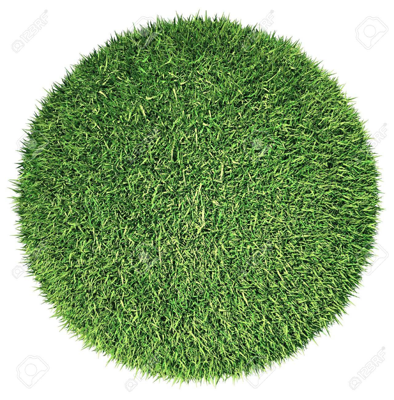 Environment: green fresh grass globe or planet isolated on white Stock Photo - 16053858