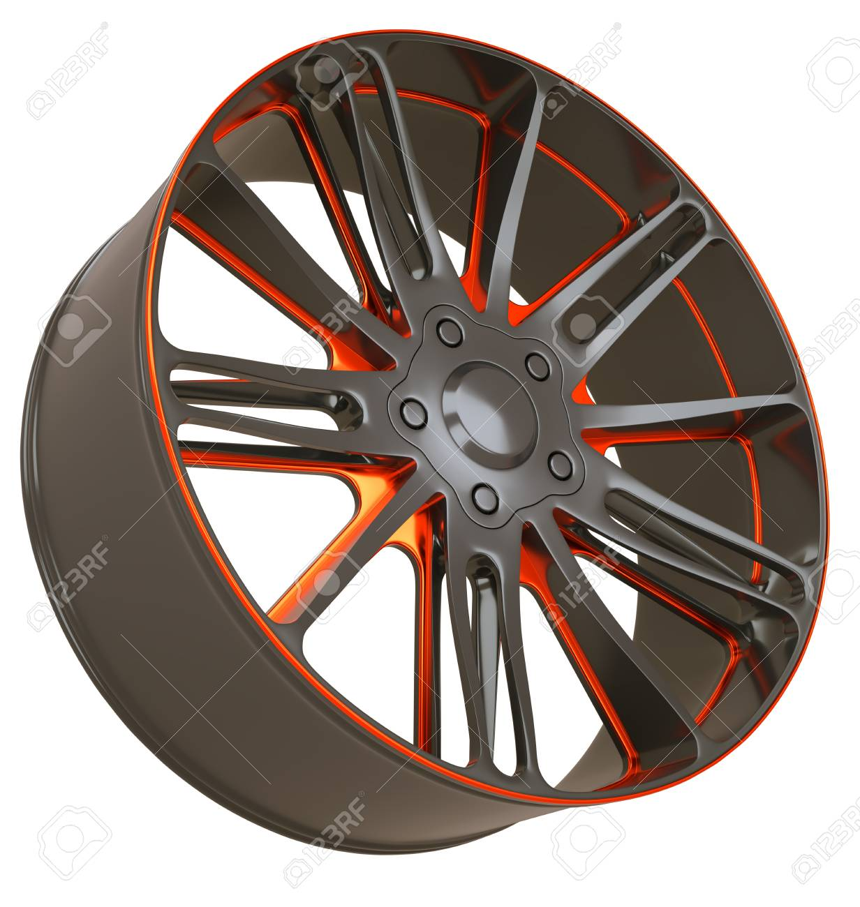 Front side view of Alloy wheel isolated over white (custom rendered) Stock Photo - 16053700