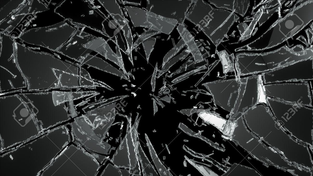 黒で破壊粉砕ガラスの破片 の写真素材・画像素材 Image 28703326.