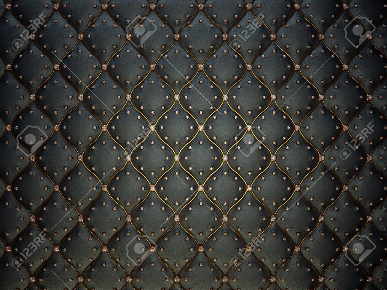 Black Leather Pattern With Golden Wire And Gems. Bumped Background ...