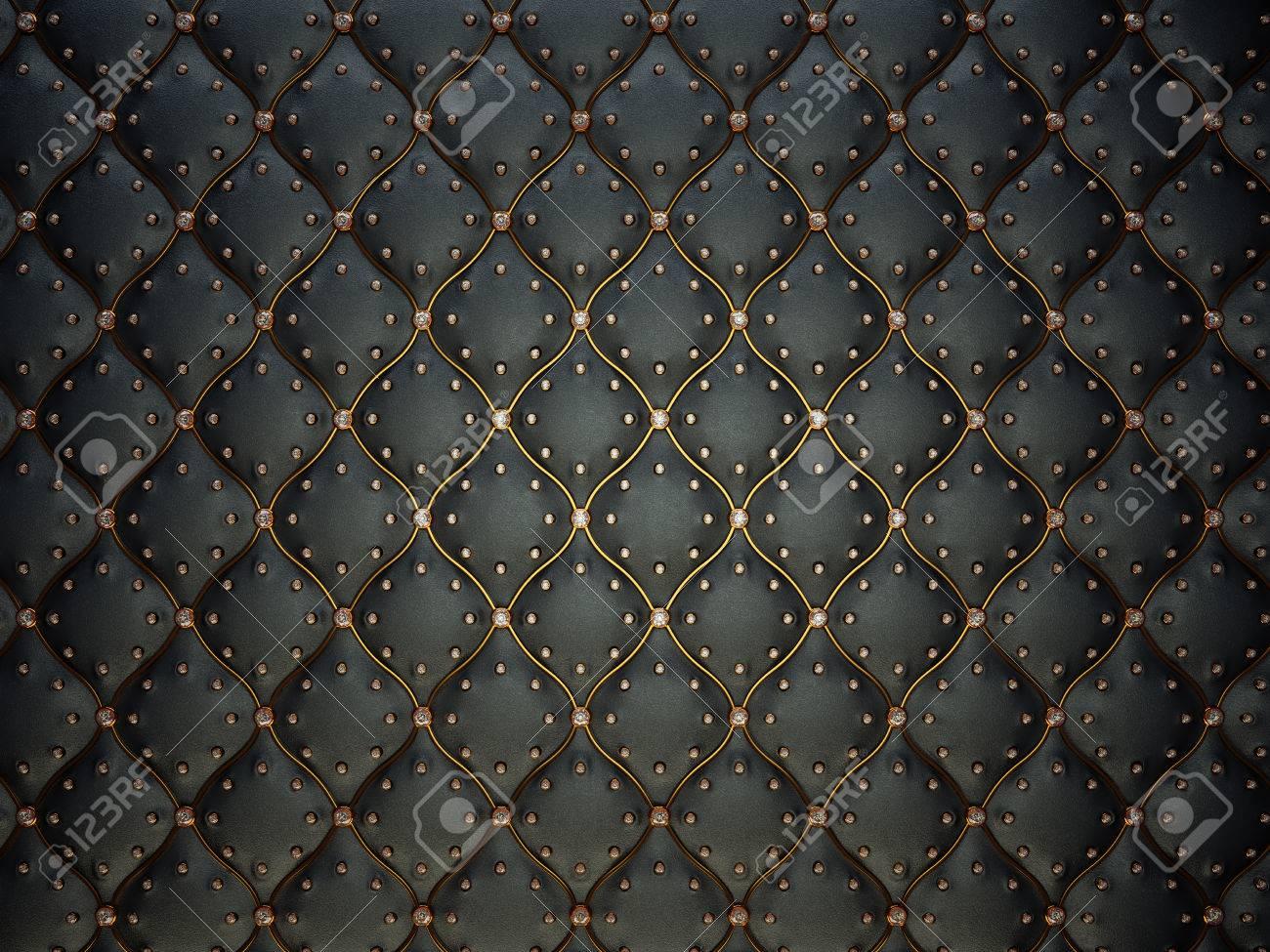 Schwarzes Leder-Muster Mit Goldenen Draht Und Perlen. Stieß ...