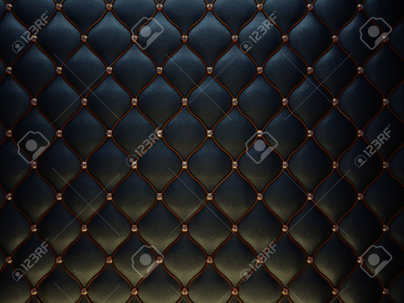 Schwarzes Leder-Muster Mit Goldenen Draht Und Diamanten. Stieß ...