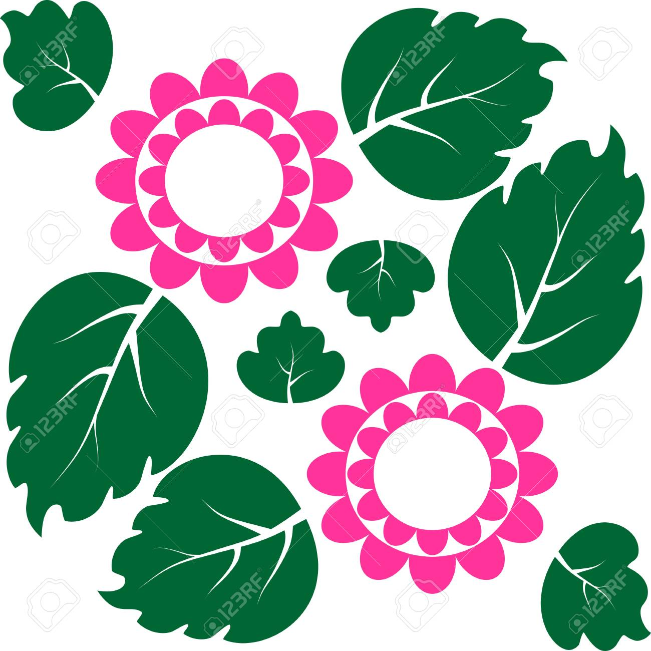 Pink Flowers With Green Leaves In The Background Royalty Free