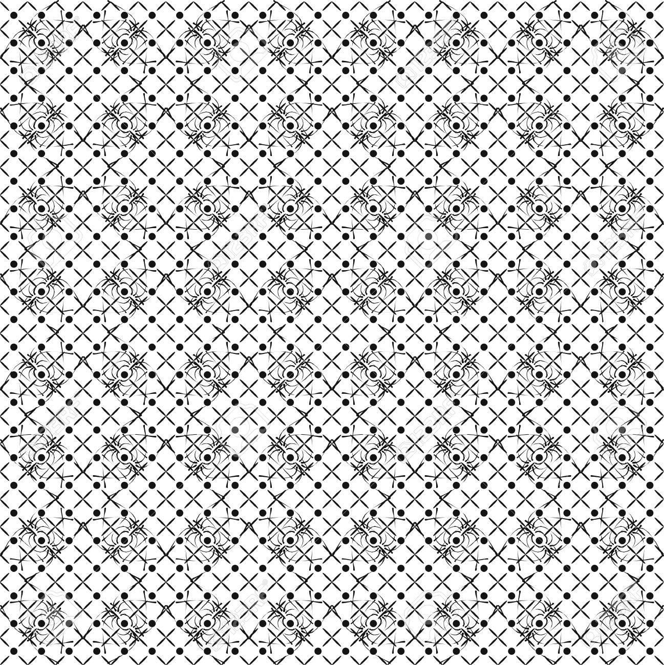 Schwarz Weiß Wallpaper Muster Im Retro Stil Lizenzfrei Nutzbare