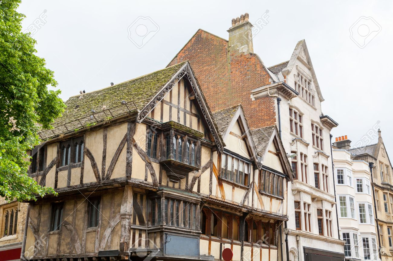 old timber framed house on a street corner oxford oxfordshire