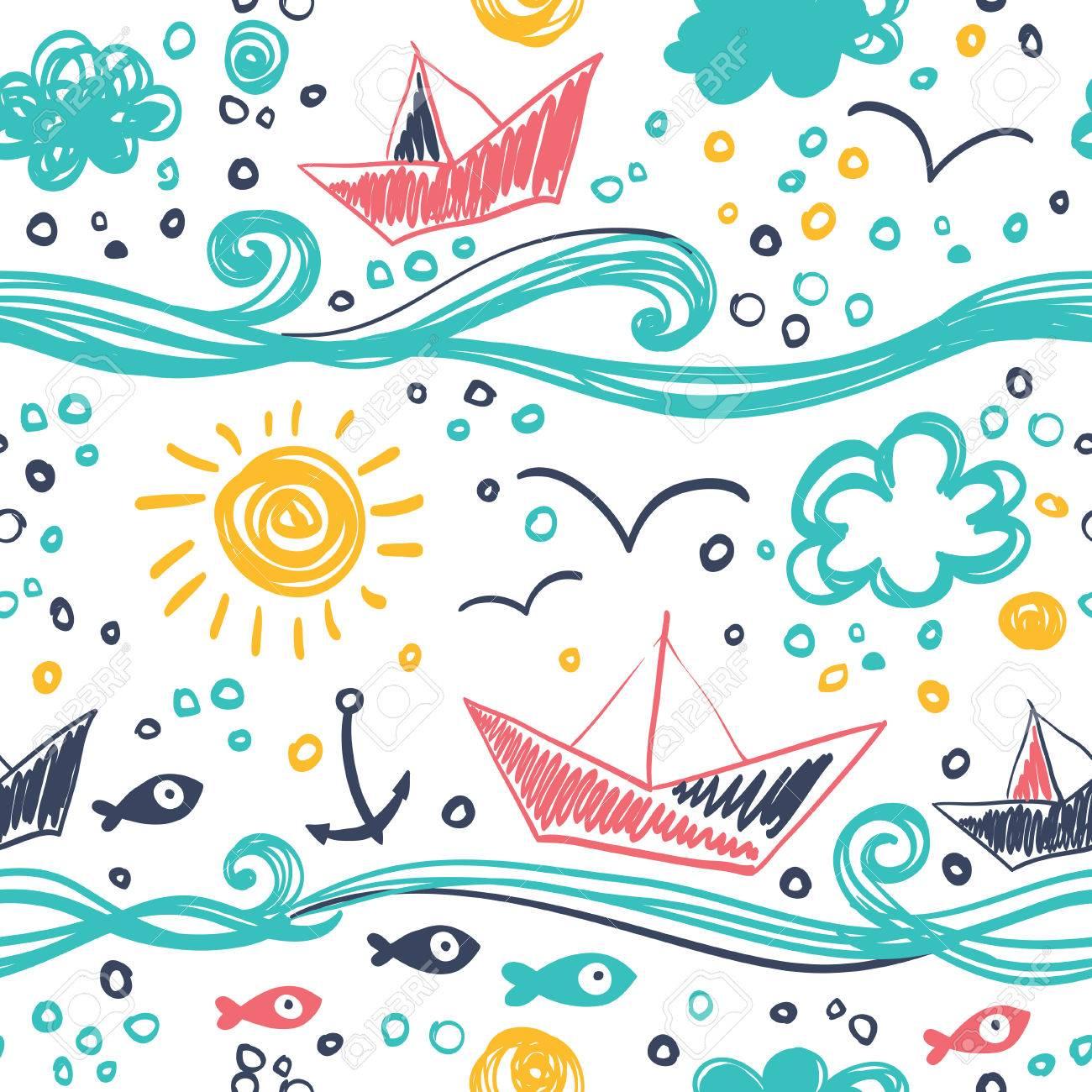Patrón Sin Costuras En El Concepto De Dibujos Para Niños Patrón Sin
