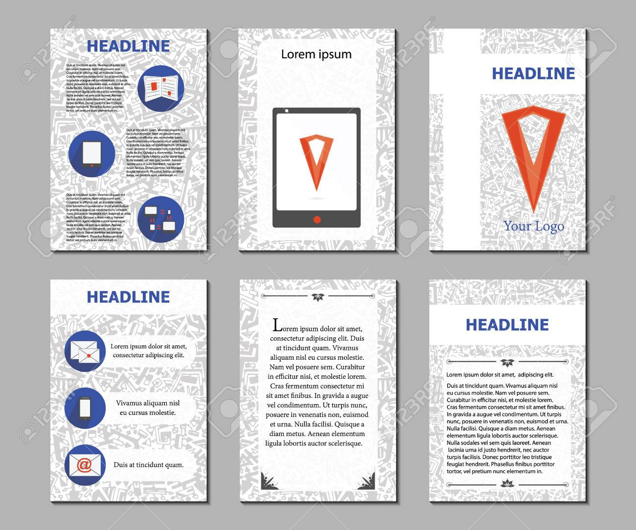 vector set flyers design template brochures preparation for set flyers design template brochures preparation for the magazine documents leaflets posters hand painted geometric background pages