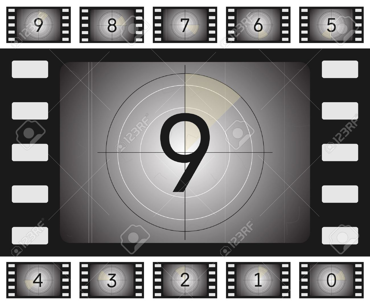Vector old film countdown with scratches and vorse for your animation. - 39348642