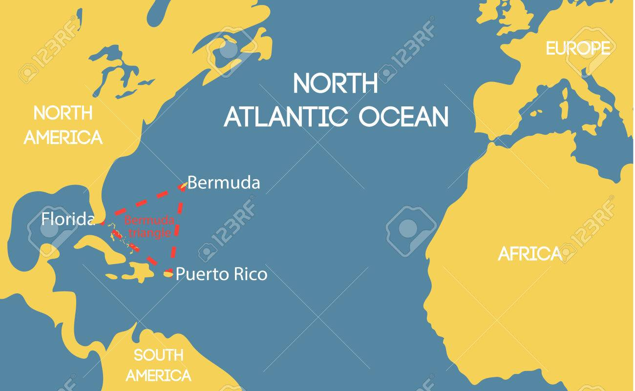 Schematic Vector Map Of The Bermuda Triangle. Royalty Free Cliparts ...
