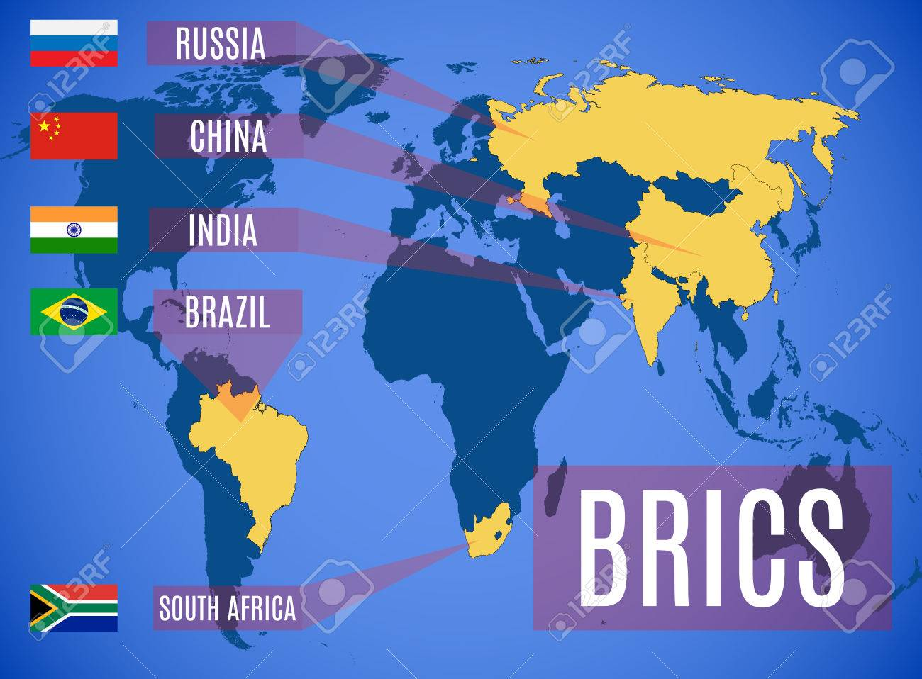 A Schematic Map Of The States Members Of The BRICS (Brazil, Russia ...