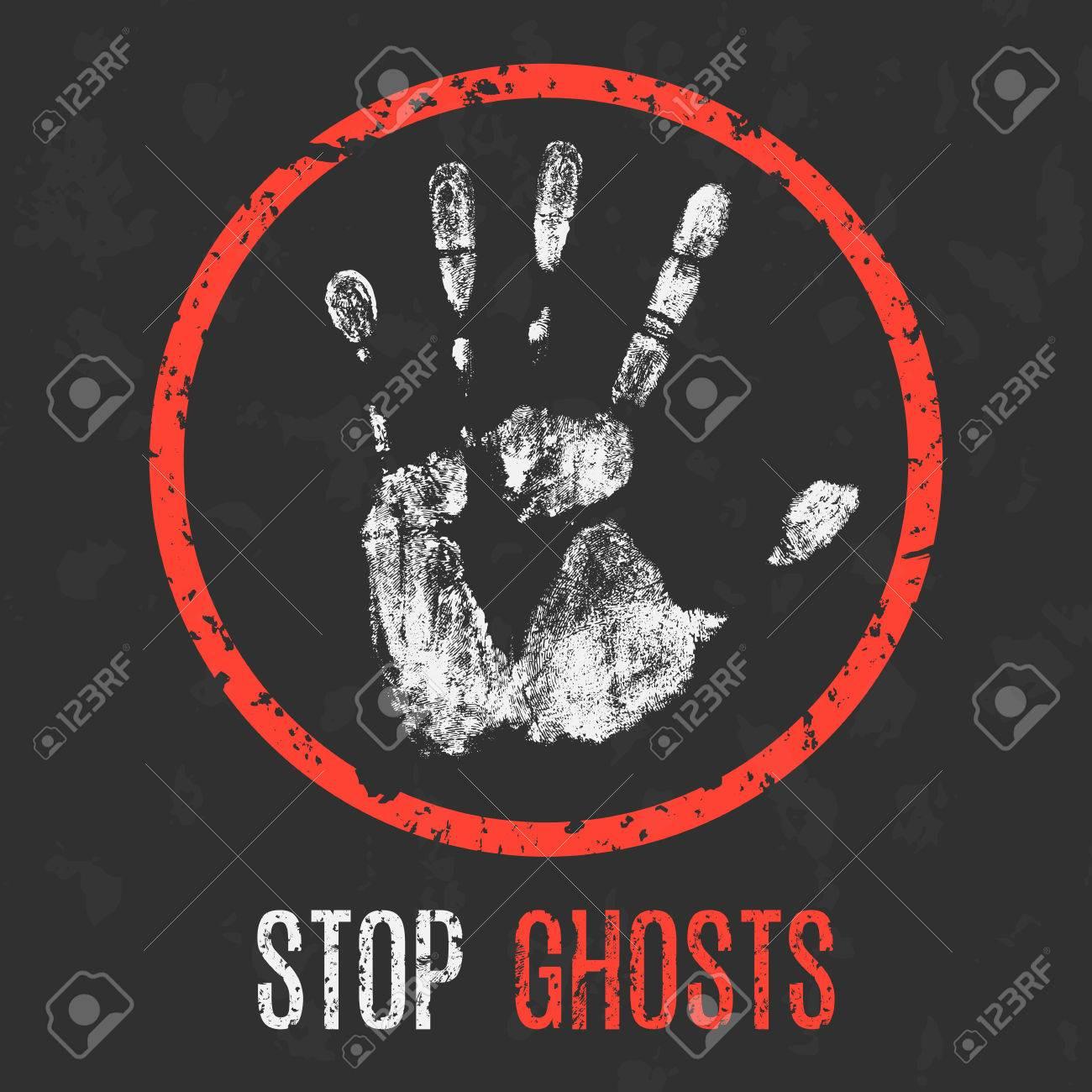Vector illustration. Paranormal phenomena: stop ghosts. - 74804239