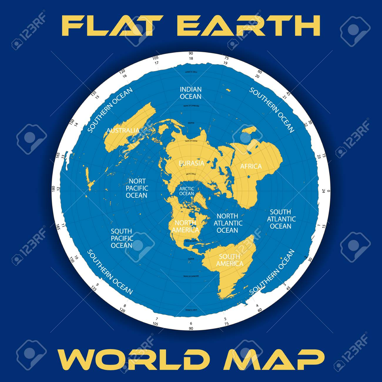 Schematic Map Theory Of A Flat Earth Illustration. Royalty Free