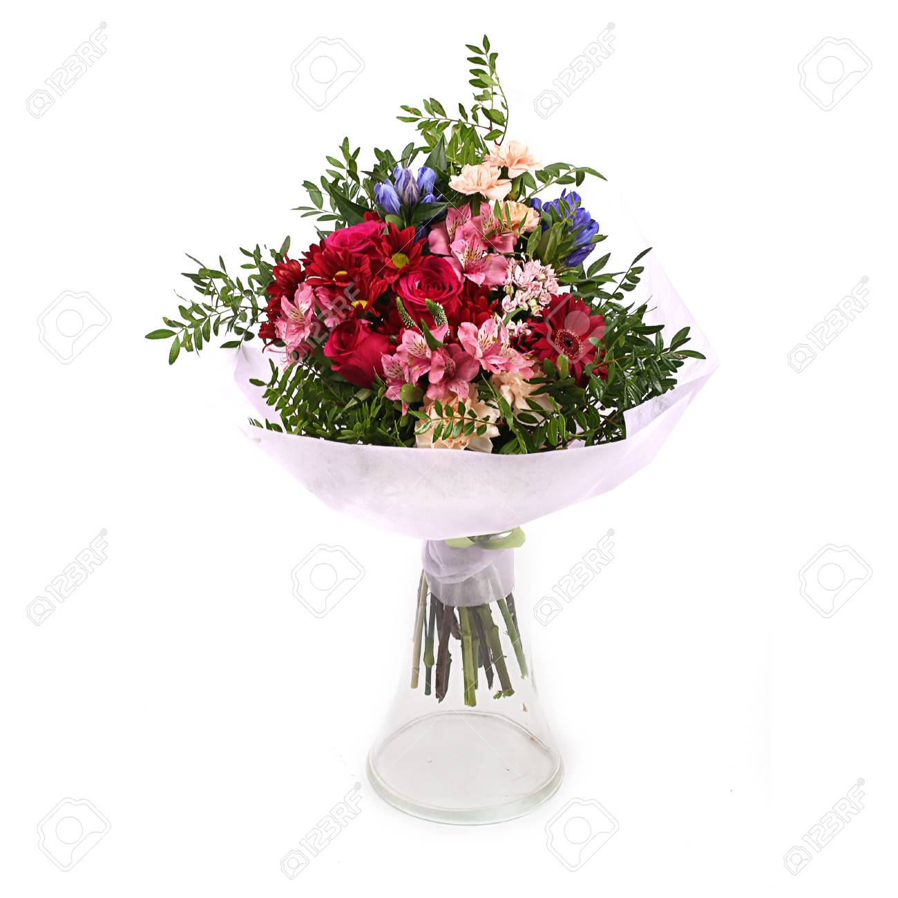 Bouquet Of Different Green Red Yellow Blue And Purple Arranged
