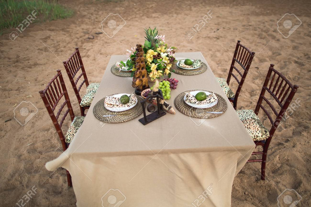Amazing decor of table in african style with creative table setting. Stock Photo - 91134477 & Amazing Decor Of Table In African Style With Creative Table Setting ...