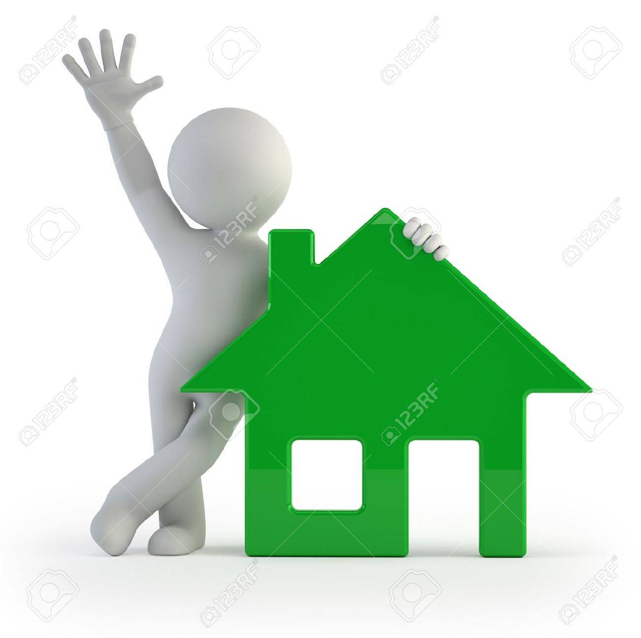 3d Small People   My House Stock Photo   17423084