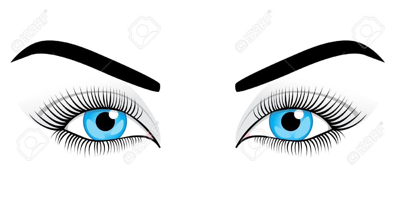 Women's blue eyes on a white background. Vector illustration. Stock Vector - 9862204