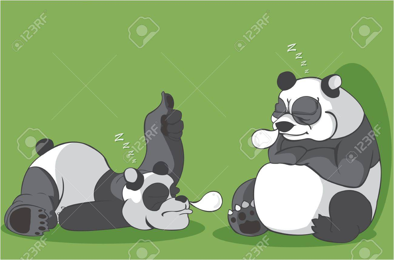 two panda sleeping vector illustration Stock Vector - 21737323