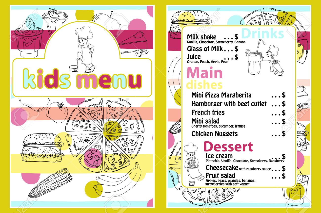 Cute Colorful Kids Meal Menu Template With Funny Cartoon Kitchen ...