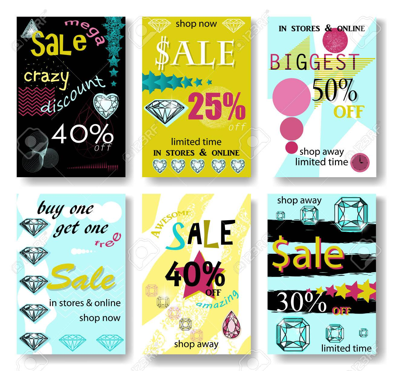 modern eye catching social media sale banners vector illustrations