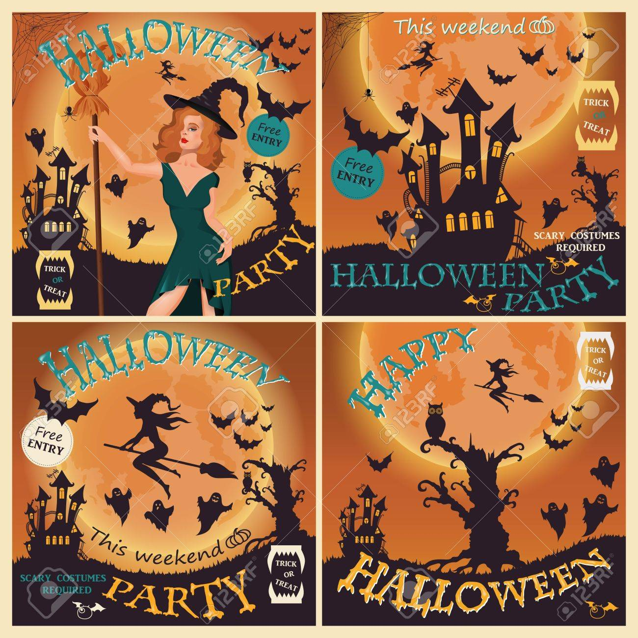 Halloween Party. Witch, Ghost, Bat, Moon, Vampire And Other Items ...