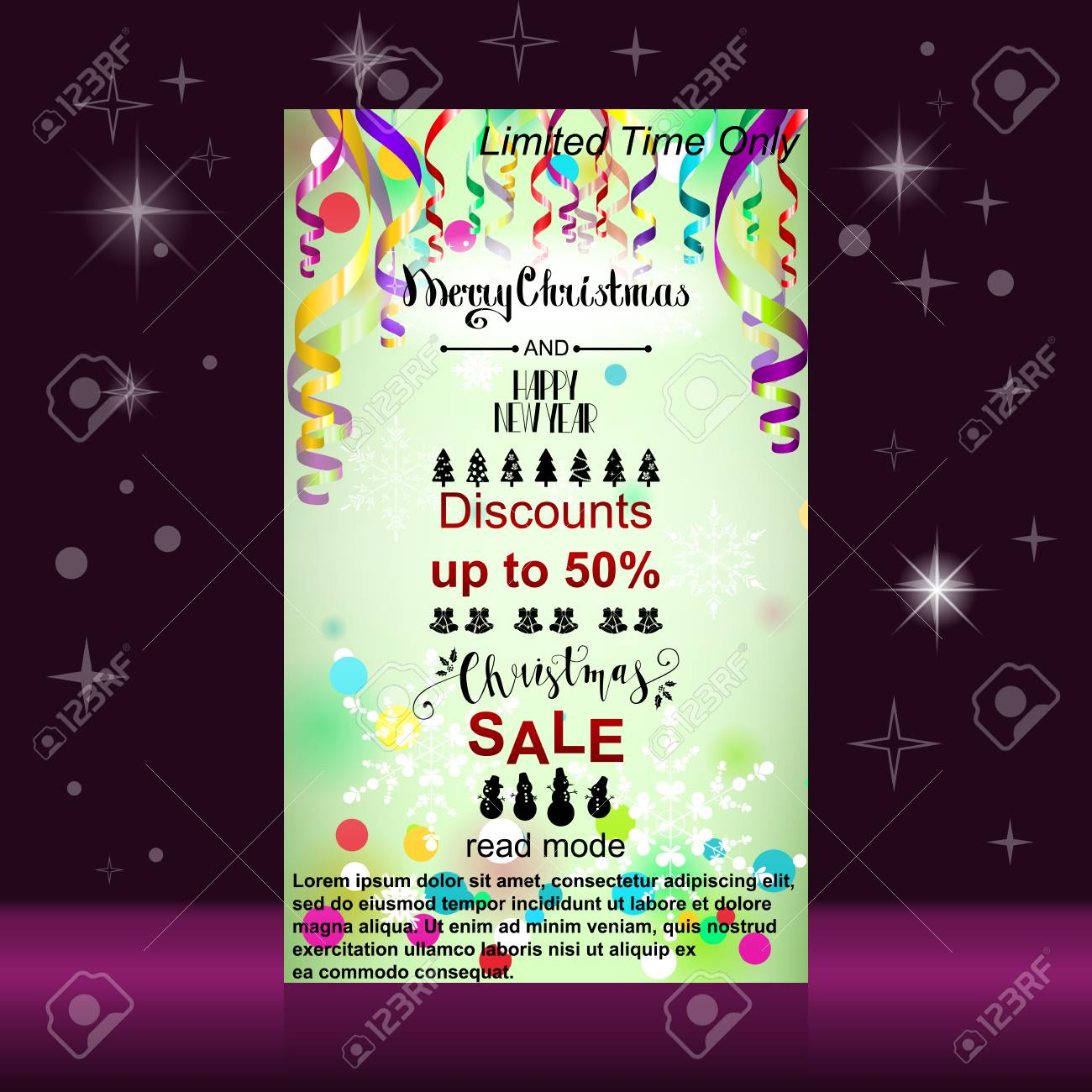 merry christmas and happy new year web banner colorful paper streamers and confetti christmas