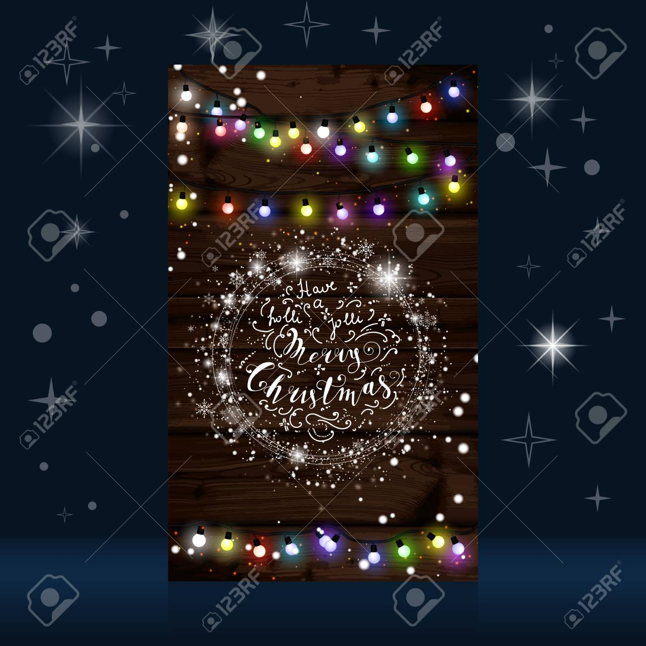 Christmas Lights Poster With Shining And Glowing Garlands On
