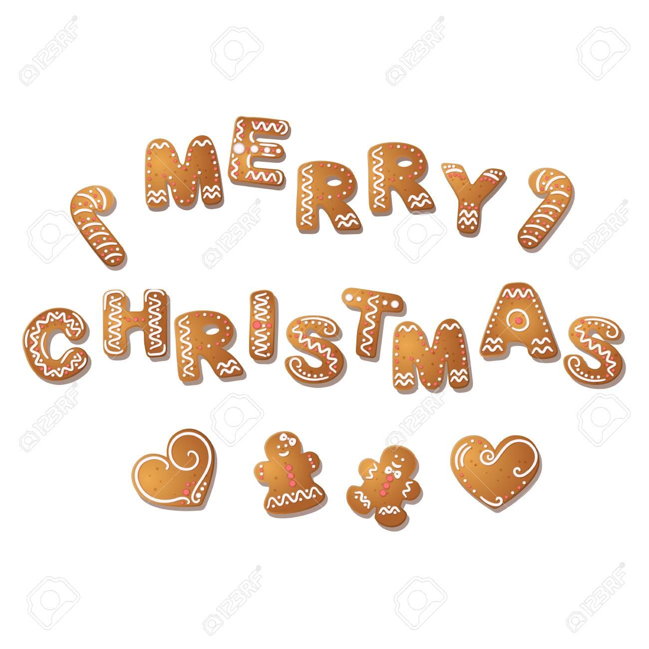 Gingerbread Inscription Merry Christmas Gingerbread Man Hearts