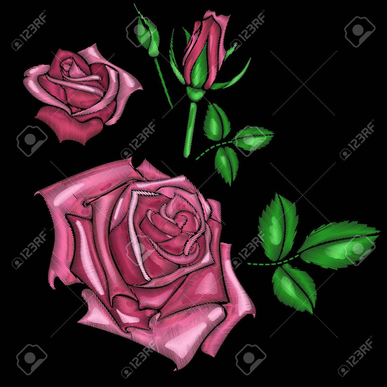 73f65cb2d7 Foto de archivo - Rosas bordado. Hermoso parche o patrón para una camisa