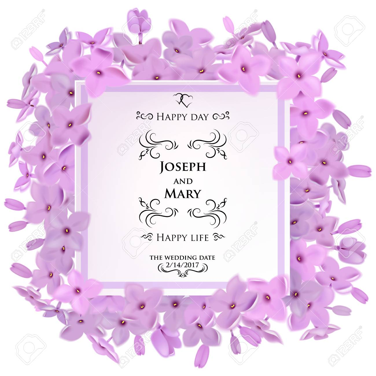 Greeting Card With Lilac Flowers, Can Be Used As Invitation Card ...
