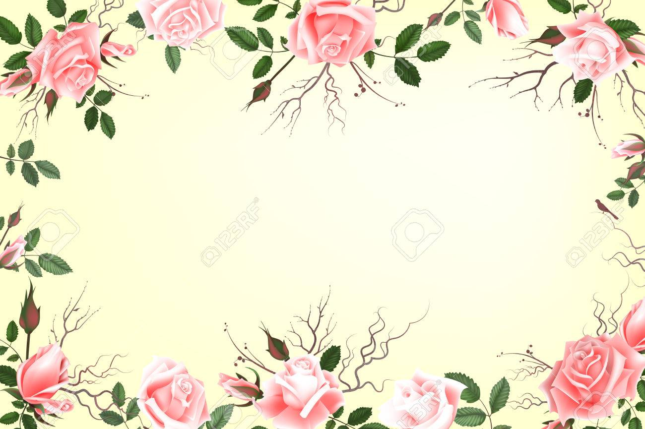 Greeting Card With Roses Delicate Buds Flowers Branches Can
