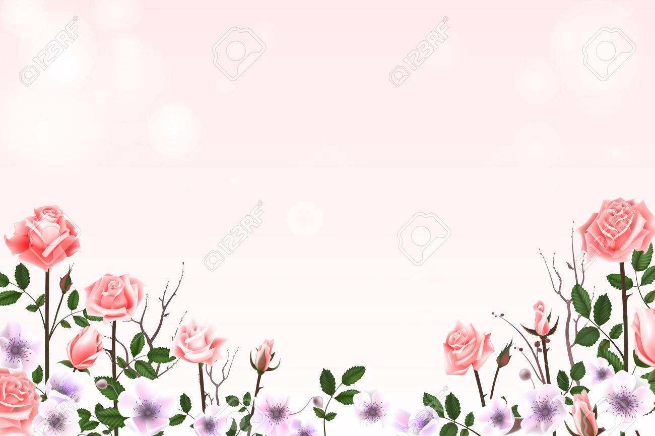 Biglietto Di Auguri Con Rose Boccioli Fiori Rami Può Essere Utilizzato Come Biglietto D Invito Per Il Matrimonio Compleanno E Altre Vacanze E