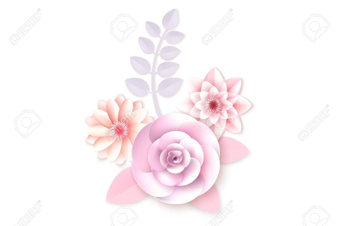 Flores De Papel Puede Ser Utilizado Como Tarjeta De Invitación Para Bodas Cumpleaños Y Otras Vacaciones Y Verano De Fondo Ilustración Vectorial