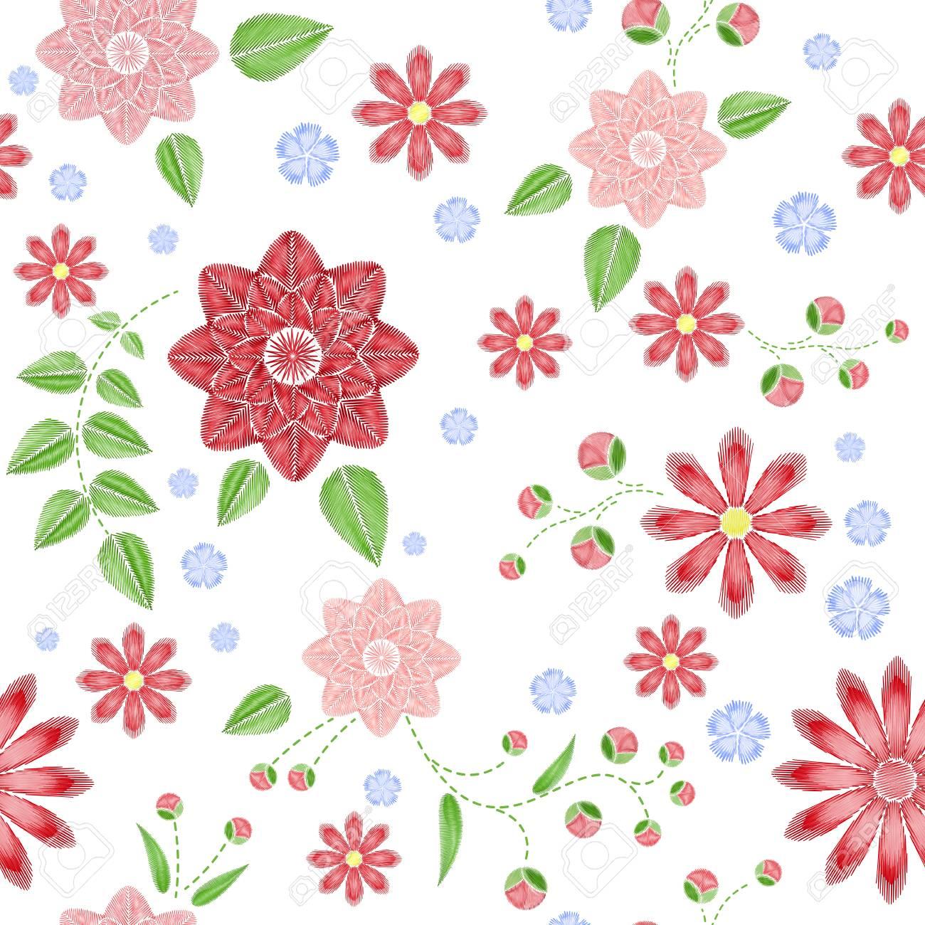 Patrón Transparente De Bordado Con Hermosas Flores. Vector Ornamento ...