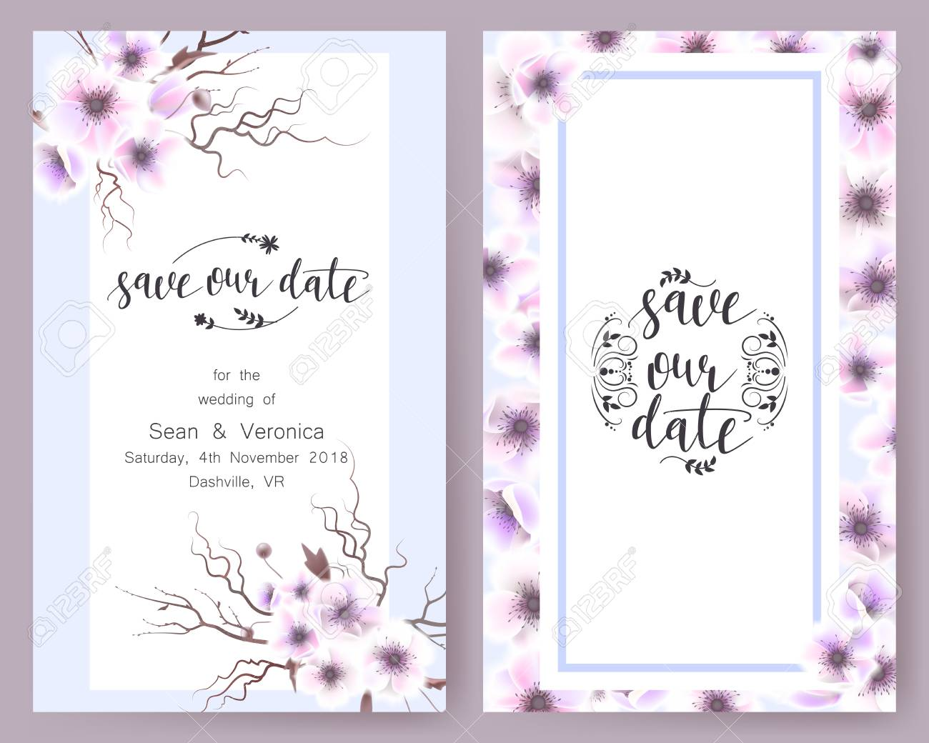 Save the date card wedding invitation greeting card with beautiful banco de imagens save the date card wedding invitation greeting card with beautiful flowers and letters stopboris Image collections
