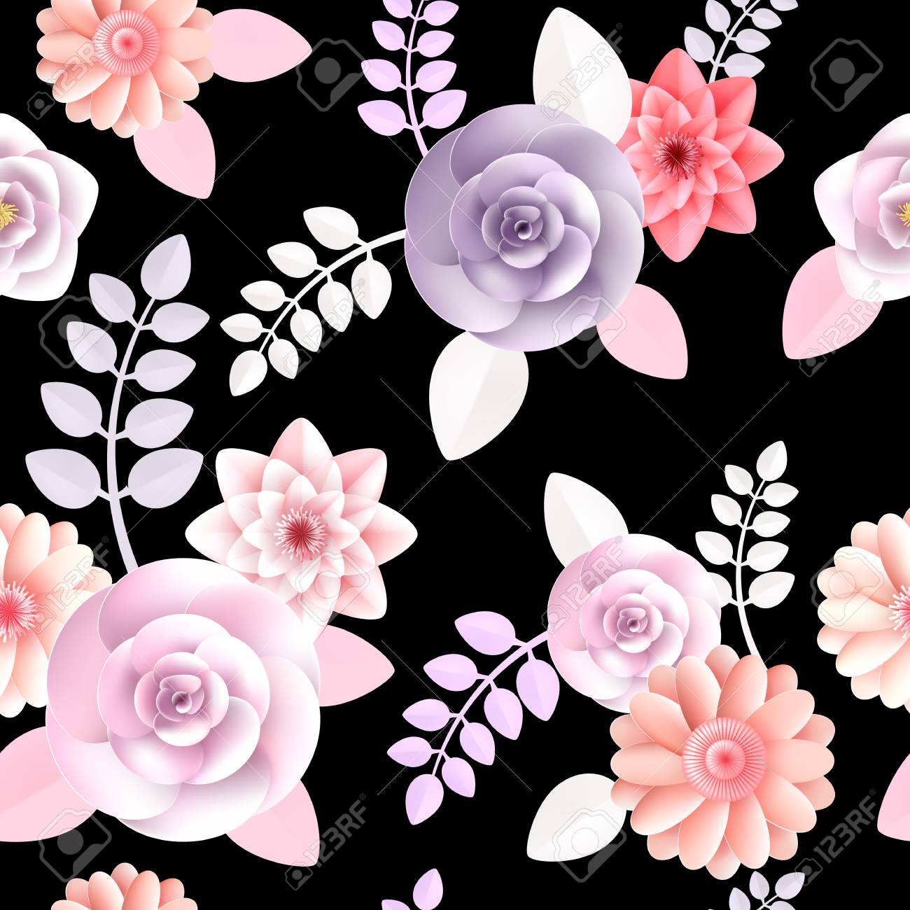 A Vector Flowers Seamless Pattern Element Elegant Texture For
