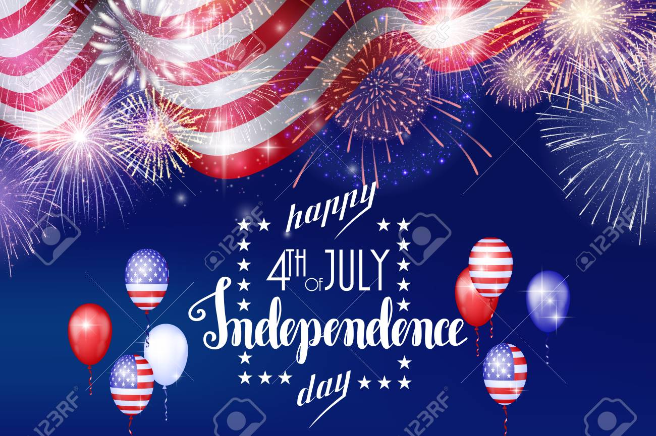 4th of July, American Independence Day celebration background with fire fireworks. Congratulations on Fourth of July. - 103517392