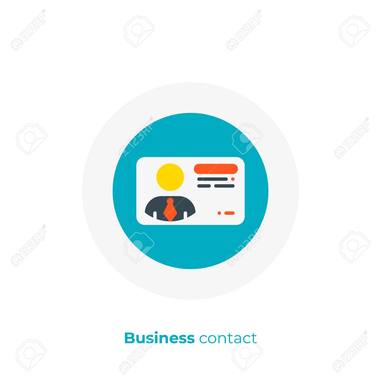 Business Contact Flat Art Icon Digital Business Card Vector